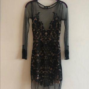 Iconic For Love and Lemons black/nude mesh dress